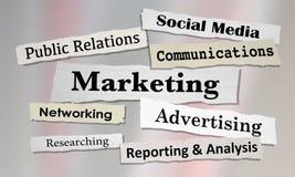 Marketing Newspaper Headlines Advertising Communication. 3d Illustration Stock Photography