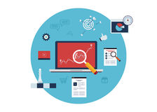 Marketing onderzoekpictogrammen Stock Foto