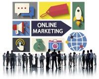 Marketing online Brandmerkende Globale Mededeling die Concept analyseren Stock Fotografie