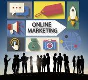 Marketing online Brandmerkende Globale Mededeling die Concept analyseren Royalty-vrije Stock Afbeeldingen