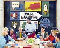 Marketing online Brandmerkende Globale Mededeling die Concept analyseren Stock Afbeelding