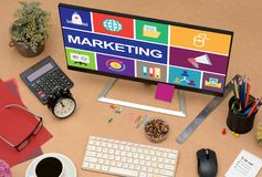 Marketing Online concept with icons in LCD Monitor stock photography