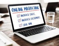 Marketing online Doelstellingen het Concept van de Planstrategie Royalty-vrije Stock Foto