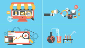 Marketing and online shopping flat icons set