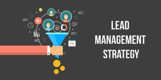 Lead management strategy, conversion optimization, sales funnel, generating money online concept. Flat design vector banner. Marketing person holding a sales royalty free illustration