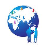 Marketing Plan. An image for the concept of Strategic Marketing Planning. Showing an graphic of the planet earth with pins sticking into areas of the globe that vector illustration