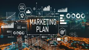 Marketing Plan with Osaka city in Japan. Marketing Plan with aerial view of city skylines at night stock photography