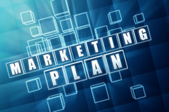 Marketing plan in blue glass cubes Stock Photos