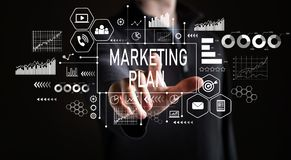 Marketing Plan with businessman. On a black background royalty free stock images