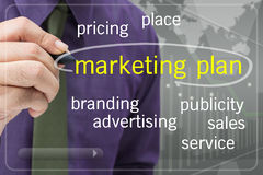 Marketing plan. Businessman with Marketing Plan on touch screen Royalty Free Stock Photography