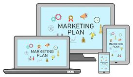 Marketing plan concept on different devices stock illustration