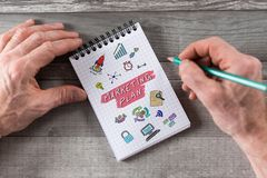 Marketing plan concept on a notepad. Marketing plan concept drawn on a notepad stock photos
