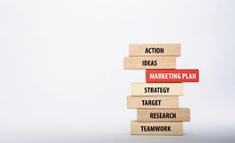 MARKETING PLAN concept. With Wooden Blocks Stock Image