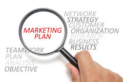 Marketing plan conceptual. Word cloud / info text on marketing, business conceptual Stock Photos