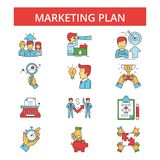 Marketing plan illustration, thin line icons, linear flat signs. Marketing plan illustration, thin line icons, linear flat signs, outline pictograms, vector Royalty Free Stock Photos