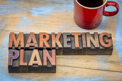 Marketing plan in letterpress wood type Stock Photography