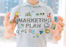 Marketing Plan with man holding his hands Stock Photography