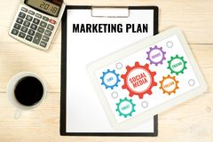 Marketing plan with social media icons, business concept. With gears stock image