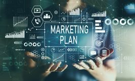 Marketing plan with young man. In the night royalty free stock photo