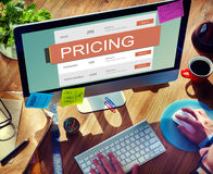 Marketing Pricing Price Promotion Value Concept. Business Man Using Computer Marketing Pricing Price Promotion Value Stock Photos