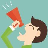 Marketing promotion - man with megaphone Stock Photo