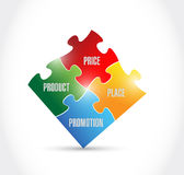 Marketing puzzle pieces illustration design Royalty Free Stock Photo