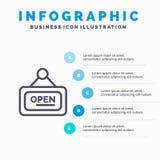 Marketing, Raad, Teken, Open Lijnpictogram met infographicsachtergrond van de 5 stappenpresentatie stock illustratie