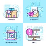 Marketing - reeks de stijl kleurrijke illustraties van het lijnontwerp stock illustratie