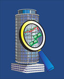 Marketing research. (big building under the magnifying glass Stock Illustration