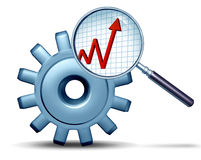Marketing Research. And business analysis concept as a three dimensional gear or cog being examined by a magnifying glass revealing a profit graph as a symbol Stock Photos