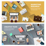 Marketing research and creative team concept. Modern flat design marketing research and creative team concept  for e-business, web sites, mobile applications Stock Photography