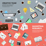 Marketing research and creative team concept. Modern flat design marketing research and creative team concept  for e-business, web sites, mobile applications Royalty Free Stock Images