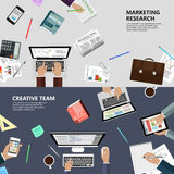 Marketing research and creative team concept. Modern flat design marketing research and creative team concept  for e-business, web sites, mobile applications Royalty Free Stock Photo