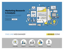Marketing research flat line banner. Flat line design of web banner template with outline icons of marketing research strategy, web business analytics, finance Royalty Free Stock Photo