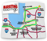 Marketing Road Map Directions Success Launch New Product Business. Marketing Road Map giving directions to identify audience, evaluate needs, competitive royalty free illustration
