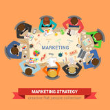 Marketing sale brainstorm flat vector: staff around table