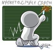Marketing sale success graph notice board sit. Man write Marketing sale success graph on notice board his company cartoon symbol Royalty Free Stock Photo