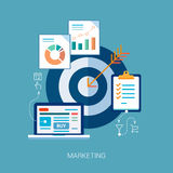 Marketing and sales analytics tasks flat icons Stock Image