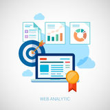 Marketing and sales analytics tasks flat icons Royalty Free Stock Photography