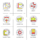 Marketing Sales Distribution Icon Set Promotion Advertisement Collection. Vector Illustration Stock Photography