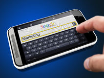 Marketing - Search String on Smartphone. Royalty Free Stock Photography