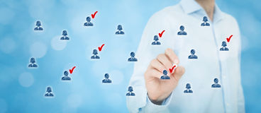 Marketing segmentation. Target audience, customer care, customer relationship management (CRM), human resources, customer analysis and focus group concepts stock images