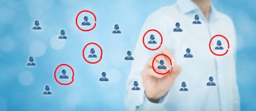 Marketing segmentation. Target audience, customer care, customer relationship management (CRM), human resources, customer analysis and focus group concepts royalty free stock photo