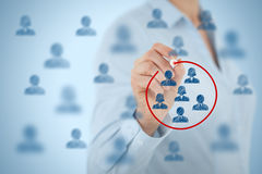 Marketing segmentation. Target audience, customers care, customer relationship management (CRM), customer analysis and focus group concepts stock images