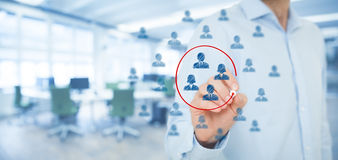 Marketing segmentation. Target audience, customers care, customer relationship management (CRM), human resources, customer analysis and focus group concepts stock image