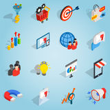 Marketing set icons, isometric 3d style. Isometric marketing icons set. Universal marketing icons to use for web and mobile UI, set of basic marketing elements Stock Photography