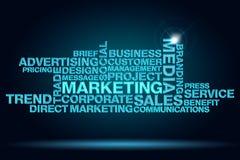 Marketing. Set of keywords of marketing on dark blue background Stock Photo