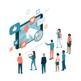 Marketing and social media. Megaphone sharing advertisement messages on social media on a smartphone, attracting users and new customers: marketing strategies stock illustration