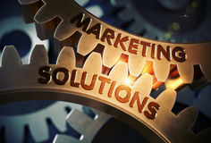 Marketing Solutions on Golden Gears. 3D Illustration. Stock Photos