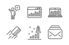 Marketing statistics, Development plan and Agent icons set. Web analytics, Credit card and Mail signs. Vector. Marketing statistics, Development plan and Agent vector illustration